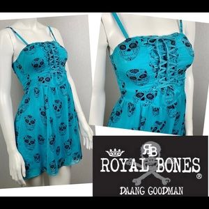 Black Skull Corset Lace Up Royal Bones Mini Dress